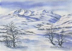 Postkort med akvarelltrykk