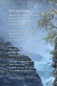 """Bilete av postkort med diktet """"den annsame"""""""