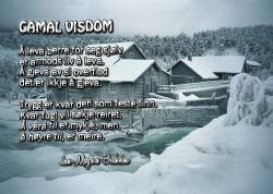 """Bilete av postkort med diktet """"gamal visdom"""""""