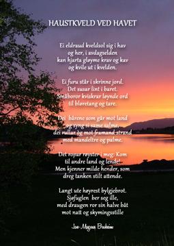 """Postkort med diktet """"haustkveld ved havet"""""""