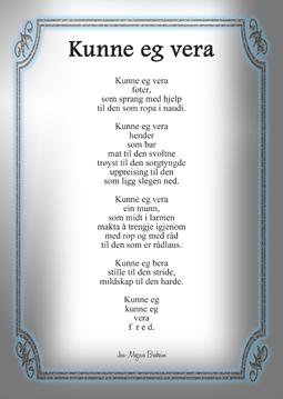 """Postkort med diktet """"kunne eg vera"""""""