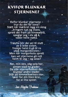 """Postkort med trykk av diktet """"kvifor blunkar stjernene"""""""